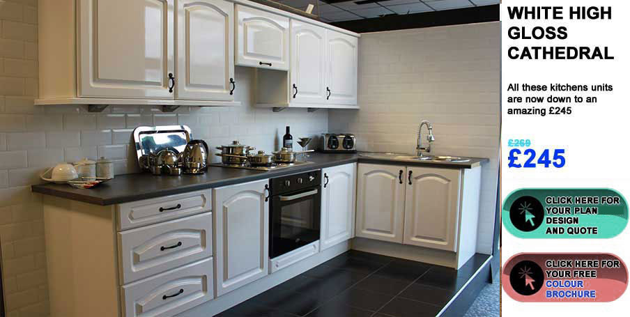 White High Gloss Cathedral Style Kitchens Grimsby